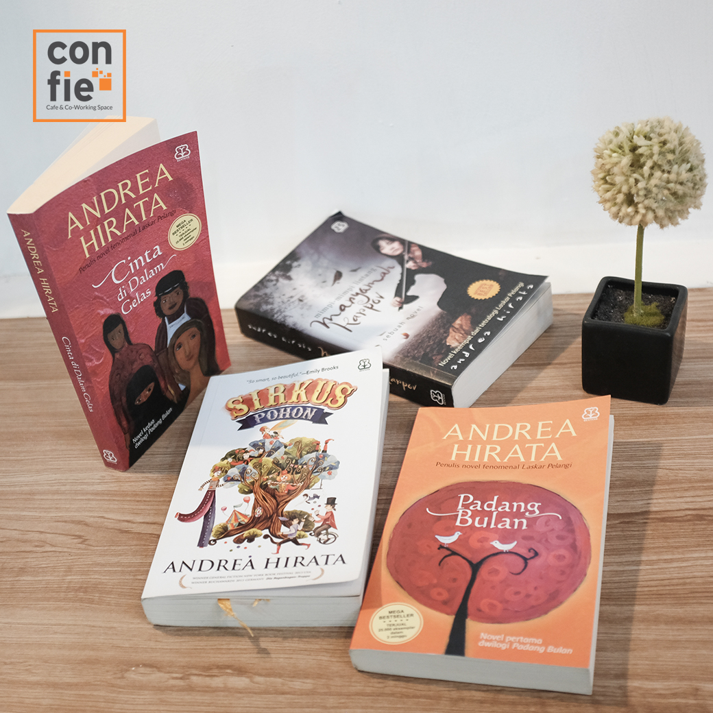Andrea hirata collection only at confie cafe & coworking space